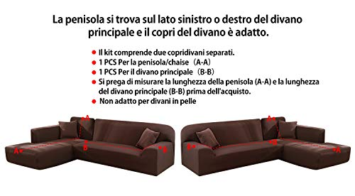 Copridivano con Penisola Elasticizzato Chaise Longue Sofa Cover Componibile in Poliestere a Forma di L è Composto da 2PCS (Marrone, 3 Posti+4 Posti)