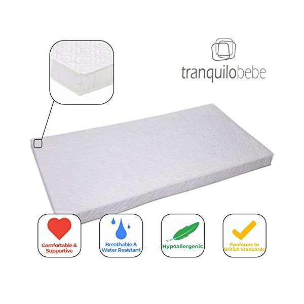 Obaby Grace Cot Bed with Luxury ECO Fibre Mattress - White Obaby  2
