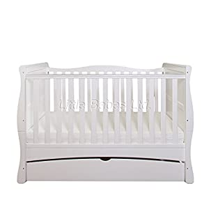 New Baby White Sleigh Mason Cot Bed with Drawer & High Density Foam Mattress (CMHR28) 140x70x10cm - Converts to Junior Bed/Toodler Bed
