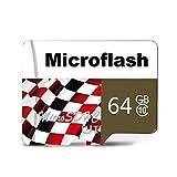 H&T Micro SDHC Class 10-Speicherkarte, TF-Kartengeschwindigkeit bis zu 45 MB/S U1-Bewertung für das Fahren von Recorder-Smartphones und -Tablets,64GB