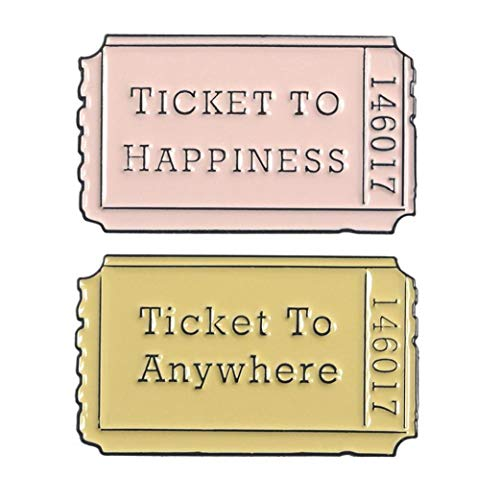 Aisoway 2pcs / Set Karikatur-Abzeichen Film-Karten-Broschen Für Frauen Brief Ticket An Jeden Ort Emaille Pin Rucksack Schmuck Geschenke