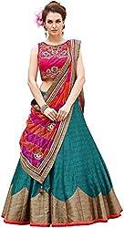 Nirvan Fashion Womens Blue Dupion Silk Lehenga-Choli -(roza firozi | Free Size)