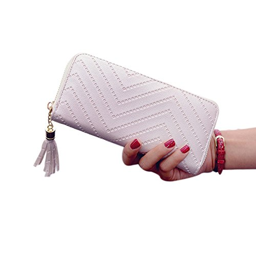 Fuibo Frauen Dame Leder Karten Halter lange Mappen Kupplungs Troddel Handtaschen Geldbeutel (Beige) (Muster Perlen-geldbörse)