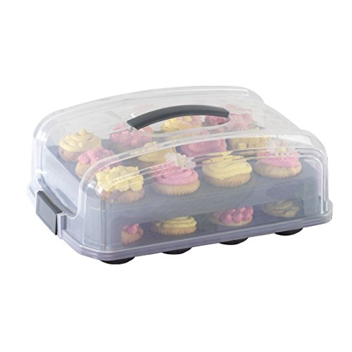 rtbox für Kuchen oder 12 bis 24 Cupcakes, Muffins (Kuchenbox mit Deckel und 2 Etagen, Einsatz für Kastenkuchen, Transport-Tragegriff, Deckel, stapelbar) Kuchenbehälter anthrazit (Geburtstag-kuchen-deckel)