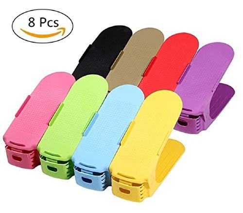 8Pcs Support pour empiler les chaussures réglable - Set économique pour chaussures Plastique économie d'espace à chaussures (multicolore)