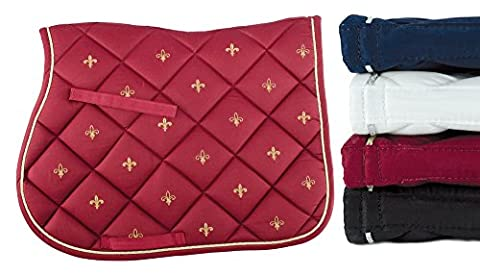 Saddlecloth Lamicell Contoured in Cotton with Trimmings Flower Lily Collection. Quilted Lilies, English Umbria Riding Horse, Horses,