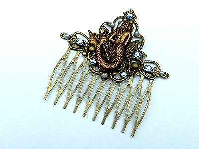 Peigne à cheveux de sirène dans un style antique bronze bleu