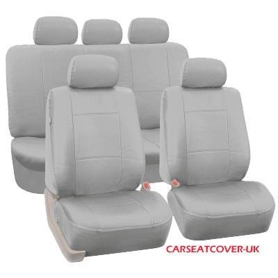 Carseatcover-UK xlthrettegryfs25Juego completo de fundas para asientos en polipiel, borde gris