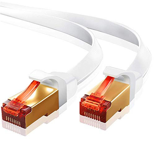 1m-CAT.7 Ethernet Gigabit Lan Netzwerkkabel(RJ45)10Gbps 600Mhz(10/100/1000Mbit/s)Patchkabel|STP|kompatibel zu CAT.5/CAT.5e/CAT.6|Switch/Router/Modem/Patchpanel/Acess Point/Patchfelder|IBRA Weiß Flach