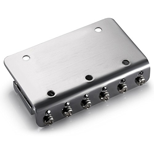 78MM Metal Fixed Hardtail Saddle Electric Guitar Bridge Top Load Tailpiece for 6 String Fender Strat Tele Guitar, Chrome