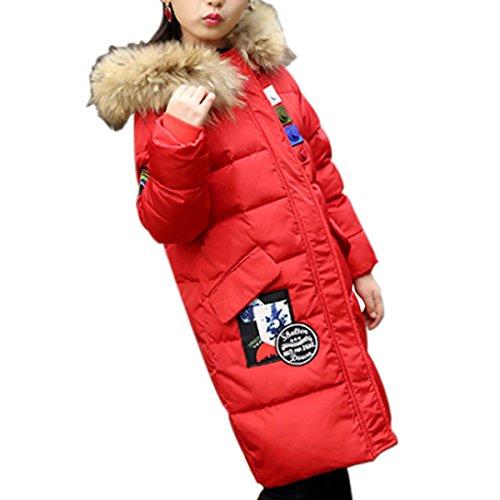 Mädchen Kinder Winter Baumwolle Gepolsterte Mantel Kapuze Parka Jacke Kleines Mädchen Warme Verdickung Fell Kapuze Gesteppte Outwear Outfit Lange Windjacke Top Größe 4-12 Yeras (Rot, 7-8Y) (Kleidung Blau Vivid)