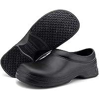 Women's and Men's Slip Resistant Work Shoes Comfort Slip on Chef or Nursing Shoes, Black, 11 Women/9.5 Men