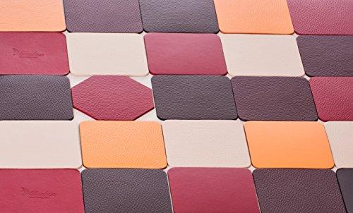 Untersetzer, recyceltem Leder Set 4, Rot, Braun, Burgund, weiß, orange, 10 * 10 cm, Dunkle Burgunder