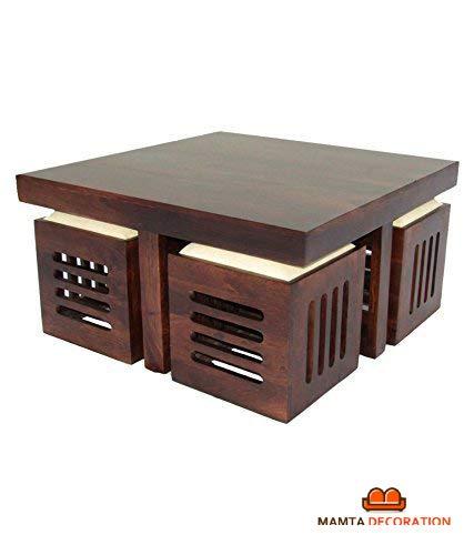 Mamta Decoration Wooden Coffee Table with 4 Stools for Living Room | Matt Polish Finish, Cream Cushion