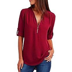 MORCHAN Mode Femmes Casual Tops T-Shirt Lâche Haut à Manches Longues Blouse (XL, Rouge)