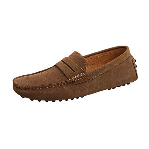 Baymate Hommes Confort Conduire Voiture Glisser Sur Loafers Appartements Kaki