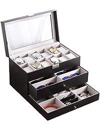 Olydmsky Reloj joyería Gafas Almacenamiento Caja 3 Capa Caja Multifuncional joyería aretes Collar de la joyería Caja de almacenaje de la joyería