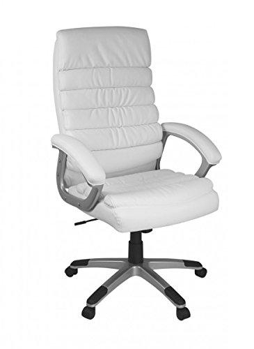 FineBuy Bürostuhl VALO Kunstleder Weiß ergonomisch mit Kopfstütze | Design Chefsessel Schreibtischstuhl mit Wippfunktion | Drehstuhl hohe Rücken-Lehne X-XL 120 kg