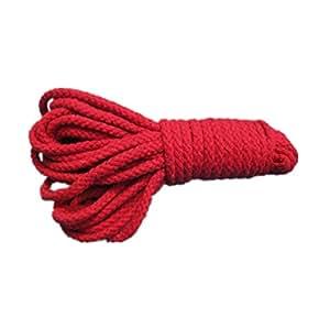 Flammee Sex Tool Corde Ficelle en Coton Rouge Longueur de 10m