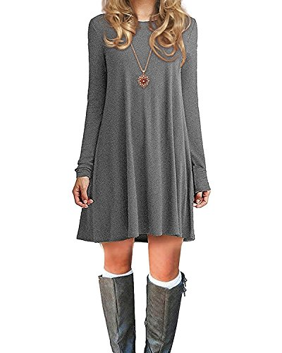 Azue Damen Einfaches Kleider Basic Casual A-Linie Skaterkleid Freizeit Kleider Fließendes Kleid Langarm Beiläufige Shirt Lose Rundhals Tunika Grau EU 38(Tag S)