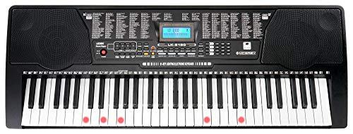 McGrey LK-6150 61 Tasten Keyboard (Einsteiger-Keyboard mit 61 Leuchttasten, 255 Sounds und 255 Rhythmen, 61 Percussion-Sounds, 50 Demo Songs, integrierter MP3-Player) Schwarz