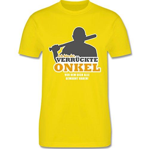 Shirtracer Bruder & Onkel - Ich Bin der Verrückte Onkel, vor dem Dich Alle Gewarnt Haben - Herren T-Shirt Rundhals Lemon Gelb