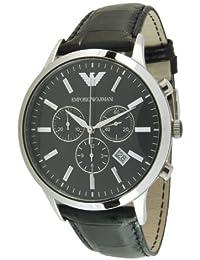 Emporio Armani AR2447 - Reloj para hombres, correa de cuero color negro