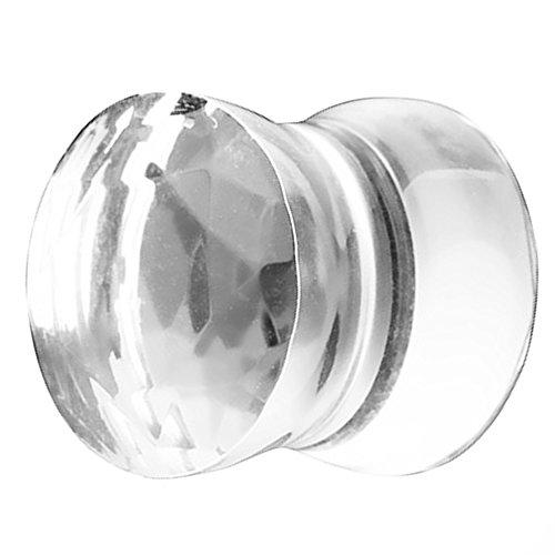 Piersando Ohr Plug Piercing Ear Flesh Tunnel Ohrpiercing Schmuck Ohrplug aus Pyrex Glas Kristall Facettiert 12 mm Clear Vintage Pyrex