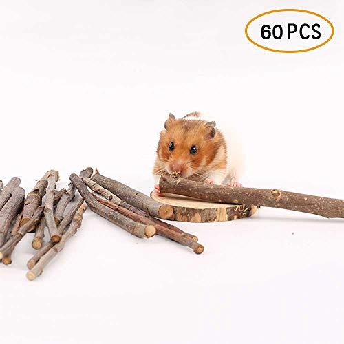 Umiwe Juguetes con Hierba gatera merienda Tratar para Conejo Conejillo de Indias Rata Hámster Loro Cuidado de la Salud de los Dientes para Gato (60PCS)