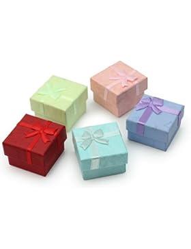 Aufbewahrungsbox für Ringe / Ohrringe / Schmuck Karton, quadratisch, 5Stück