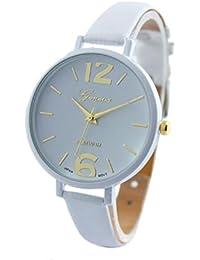 Relojes Pulsera Mujer,Xinan Ginebra Imitación Cuero de Cuarzo Analógico Relojes (Blanco)