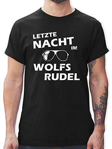 JGA Junggesellenabschied - Letzte Nacht im Wolfsrudel - L - Schwarz - L190 - Herren T-Shirt und Männer Tshirt