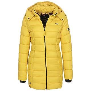Marikoo Damen Winter Jacke Stepp Mantel Leicht Übergang Herbst Wintermantel ABN-107 (M, Zitronengelb)