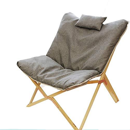 Patio Kissen (Q&Y-Klappstuhl Wooden Lounge Chair mit bequemem Stuhlkissen Recliner for Patio mit Kissen (Color : Beech Frame Grey))