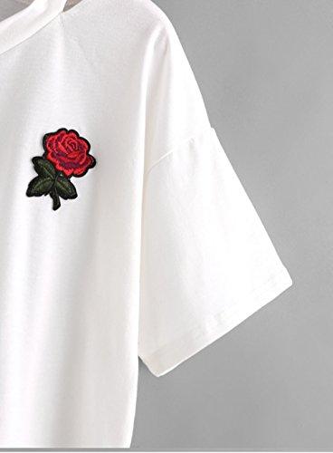 Youngii T-shirt décontracté, Blouse à manches courtes Col V Impression Gilet Tops Blanc