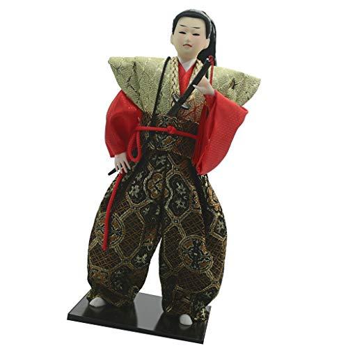 P Prettyia 12 Zoll Japanische Ninja Samurai Puppe Minipuppe Kunst Tischdeko Sammlerstücke Geschenk - C