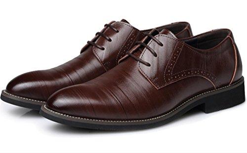 XDGG Pattini di cuoio degli uomini di Scarpe da sposa casual di punta delle scarpe da sposa di punta di formato brown
