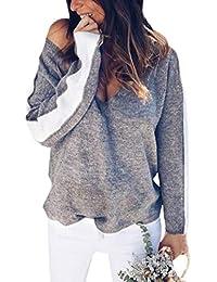 OranDesigne Damen Pullover V-Ausschnitt Sweater Sexy Casual Loose  Fledermausärmel Warm Gestrickter Oversize Pullover Einfarbig Sweater… 3526649d83