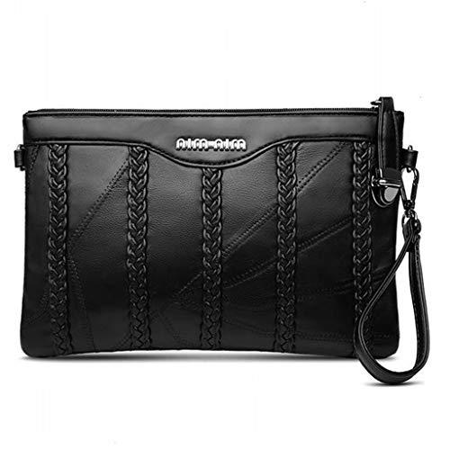 DSLYZ Damen-Kupplungs-Armband-Handtaschen-Taschen-Umhängetaschen, PU-Leder-Umschlag-Umhängetaschen-Kuriertasche, Mode-zufällige Minihandy-Geldbörse,Black-25x3x15cm(LxWxH) -