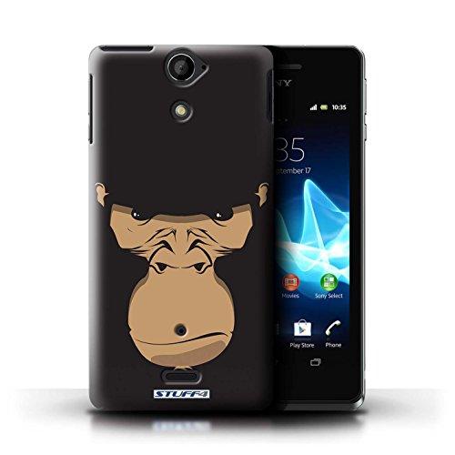 Kobalt® Imprimé Etui / Coque pour Sony Xperia V/LT25i / Chat noir conception / Série Museaux Gorille/Chimpanzé/Singe