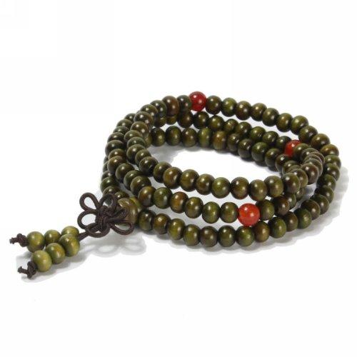 Merdia Natur 108 Stück Sandelholz Armband Halskette Gebetskette mit Chinesische Knoten (Grün)