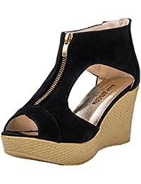 17544d2a85b5b5 LUCKDE Sandalen Damen Sommer Sandalette mit Keilabsatz Damenschuhe Pumps  Plateau Outdoor…