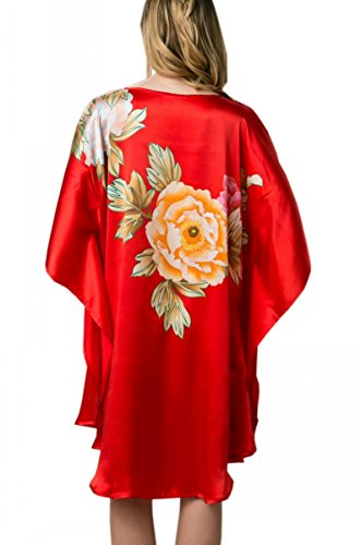 Prettystern - 100% Crepe Satin SEIDE Kimono Nachthemd mit handbemalter chinesischer Pinsel Malerei YBS601 Rot