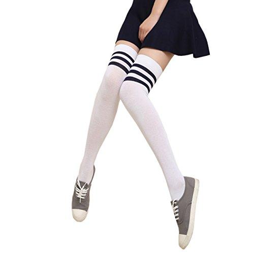 THEE Damen Winter Warme Überknie Strümpfe Baumwollstrümpfe Retro Lange Socken Overknee College Schüler Mädchen Sportsocken Über Kniestrümpfe mit drei Streifen weiß