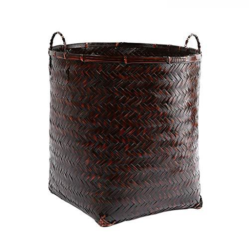 KKY-ENTER Panier à linge rétro bambou tresse ménage panier sale vêtements divers panier de rangement portable Coffre à Linge (taille : 35 * 33cm)