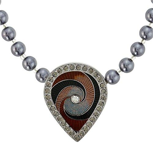 Behave Perlenkette in Grauer Farbe - Perlenkette mit schwarzem Anhänger und Strasssteinen - Perlenketten für Sie