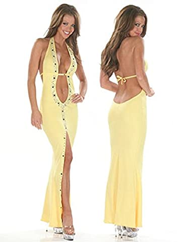 Elegant Ladies Yellow Halter Neck Evening Cocktail Prom Dress Party Dance Club Wear Size UK 8-10 EU
