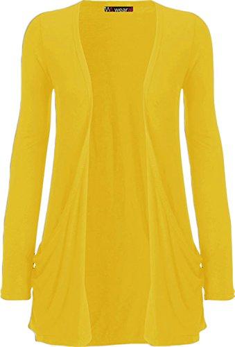 Strickjacke Damen Gelb (WearAll Neu Damen Langarm Freund Boyfriend style Strickjacke Cardigan Top - Gelb - 36-38)