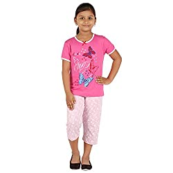 FICTIF Kid Girls Light Pink Color Top & Capri Set