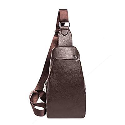 Outreo Sac à Poitrine Homme Sac Besace Vintage Sac bandoulière Cuir Sac Porté épaule Sport Bag pour Voyage Sacoche en école